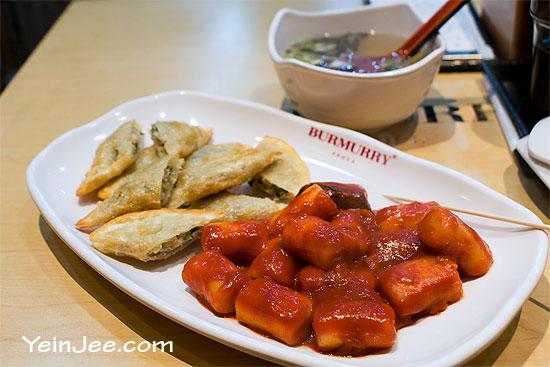 Teokbokki and fried dumplings at Burmurry Seoul restaurant