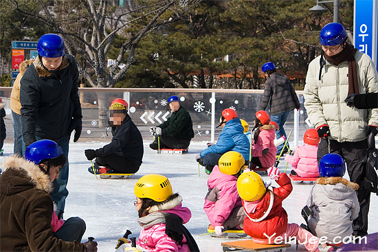 Ice sledging ring at Gwanghwamun Square in Seoul, South Korea