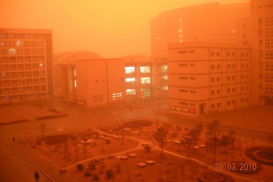 Yellow dust storm in Beijing, China