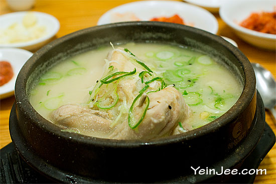Samgyetang, Korean ginseng chicken soup at Tosokchon restaurant in Seoul, South Korea
