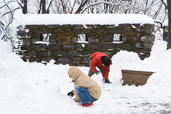 Children playing snow at Namsan Park, Seoul