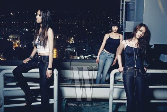 f(x) members in Calvin Klein Jeans on W Magazine