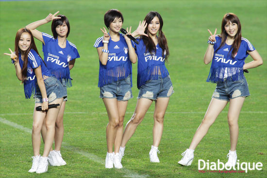 Korean girl group KARA at Suwon football match