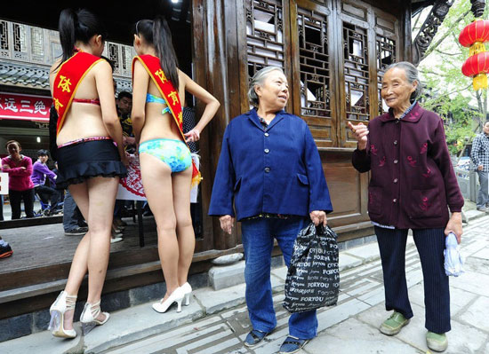 Bikini model in Chengdu, China