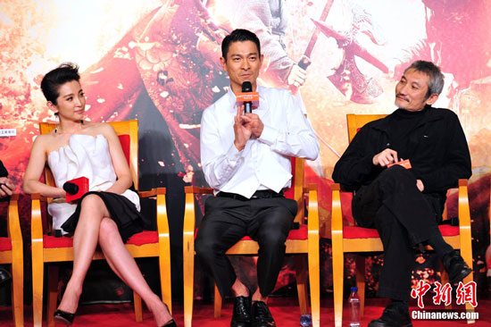 Andy Lau, Li Bingbing and Tsui Hark at Detective Dee Asian premiere