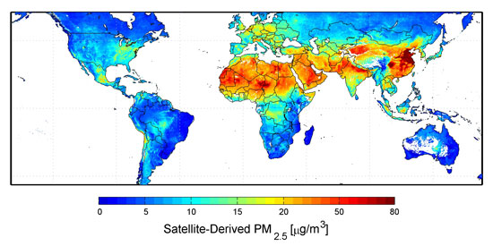 China and global air pollution map