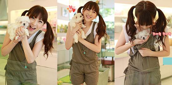 Kara Jiyoung and cute puppy