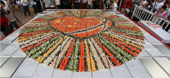 World largest sushi mosaic in Shanghai, China