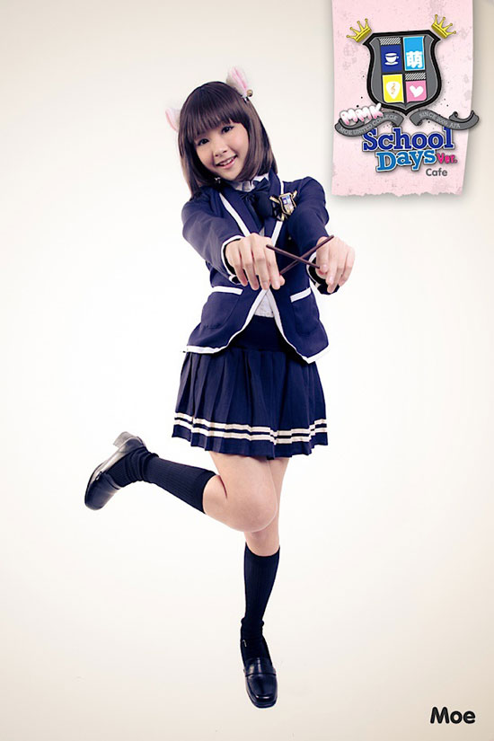 School girl cafe maid Moe at AFA X
