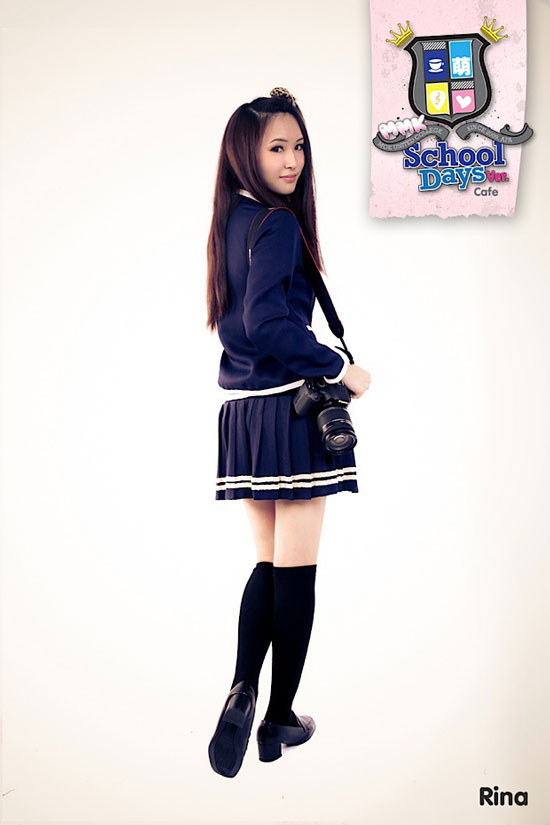 School girl cafe maid Rina at AFA X
