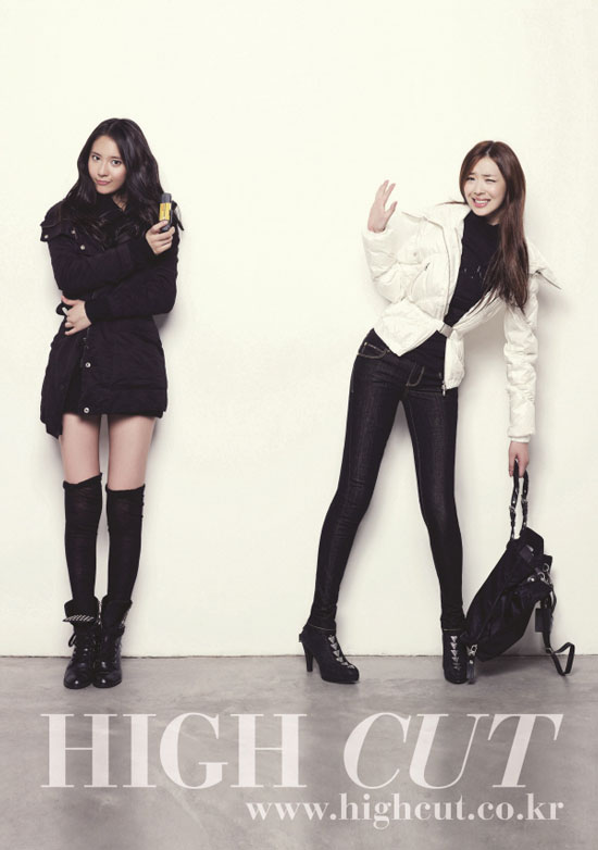 f(x) Krystal and Sulli on High Cut magazine in Calvin Klein jeans