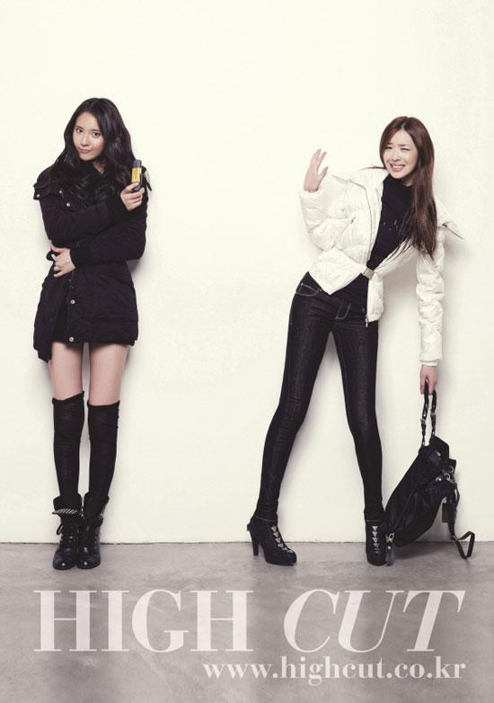 f(x) Krystal and Sulli High Cut magazine in Calvin Klein jeans