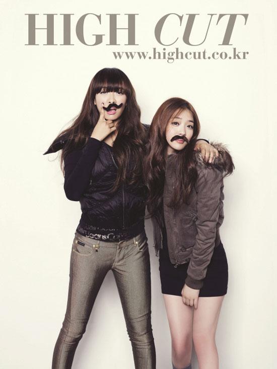 f(x) Victoria and Sulli High Cut magazine in Calvin Klein jeans