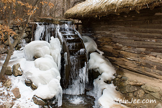 Frozen water wheel at Korean Folk Village in Yongin