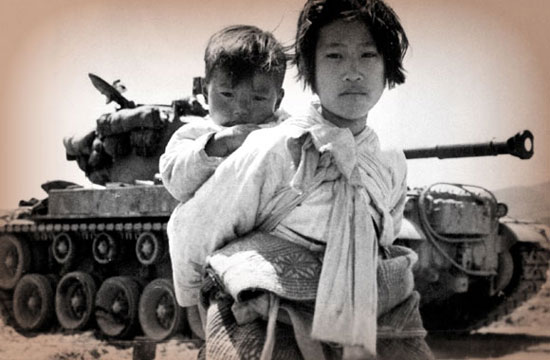 Korean War girl, brother, tank
