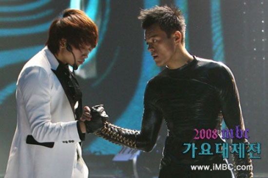 Korean pop stars Rain and JYP
