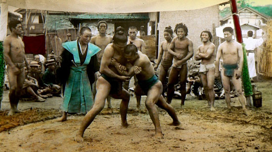 Sumo wrestlers vintage photo by T Enami
