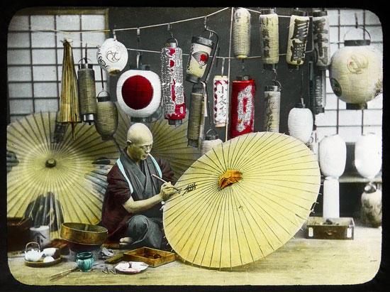 Japanese umbrella maker vintage photo by T Enami