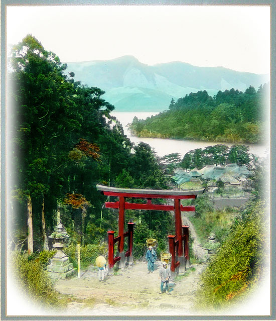 Hillside Torii above Lake Ashi by T.Enami