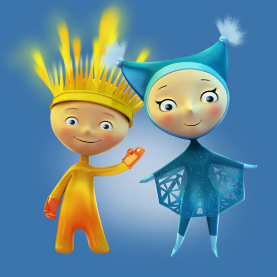 Sochi 2014 Winter Olympics Ray of Light and Snowflake mascot