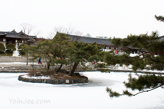 Frozen pond at Namsangol Hanok Village, Seoul