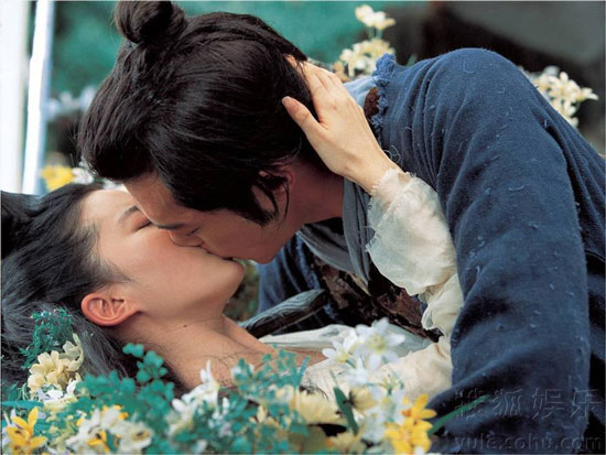 Liu Yifei kisses Louis Koo in A Chinese Ghost Story