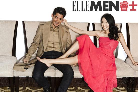 Zhang Ziyi and Aaron Kwok Elle Men Magazine