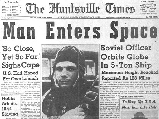 Yuri Gagarin first human being in space
