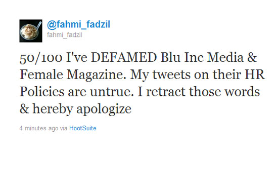 Fahmi Fadzil 100 Twitter Tweets to Blue Inc Media