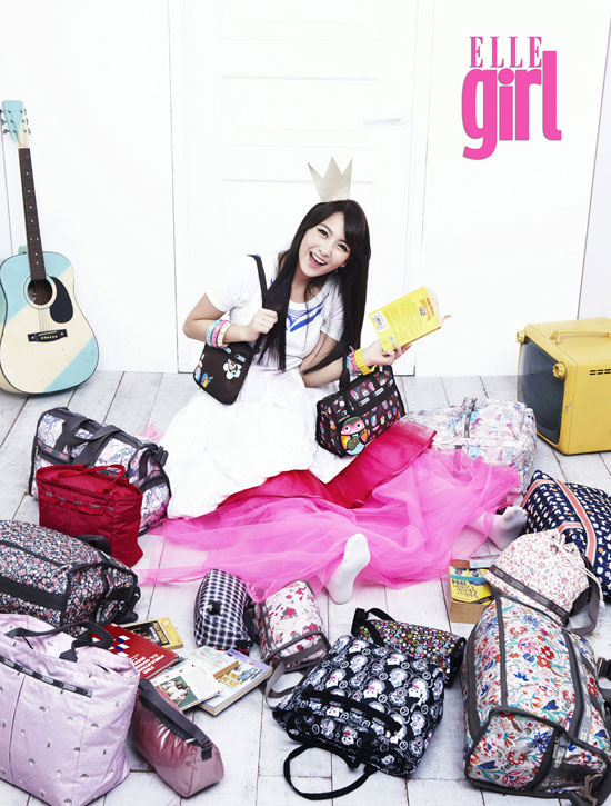 KARA Jiyoung Elle Girl Magazine with LeSportSac handbags
