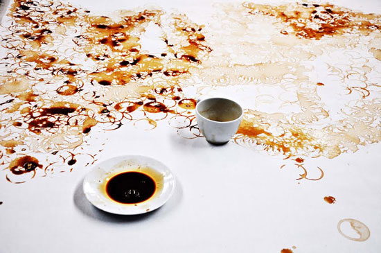 Hong Yi coffee stained cup painting