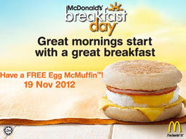 McDonalds Malaysia free breakfast