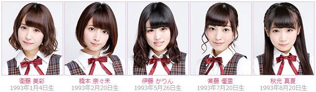 Nogizaka46 members Misa Eto, Nanami Hashimoto, Karin Ito, Yuri Saito, Manatsu Akimoto