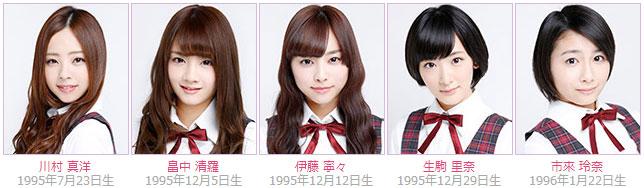 Nogizaka46 members Mahiro Kawamura, Seira Hatanaka, Nene Ito, Rina Ikoma, Rena Ichiki