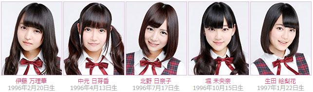 Nogizaka46 members Marika Ito, Himeka Nakamoto, Miona Hori, Hinako Kitano, Erika Ikuta
