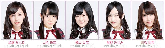 Nogizaka46 members Chiharu Saito, Rena Yamazaki, Hina Higuchi, Minami Hoshino, Hina Kawago