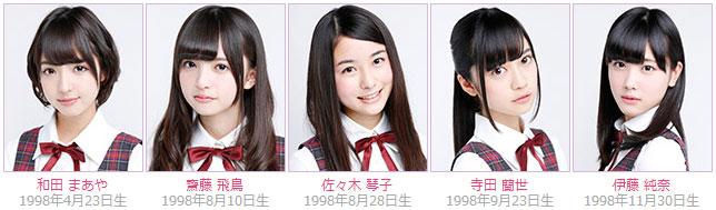 Nogizaka46 members Maaya Wada, Asuka Saito, Kotoko Sasaki, Ranze Terada, Junna Ito