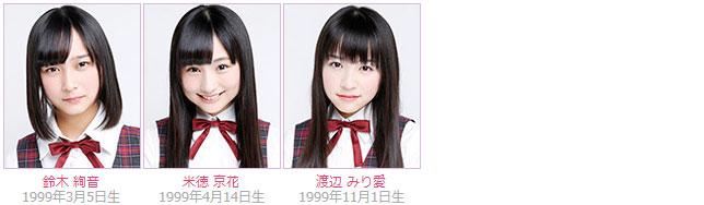 Nogizaka46 members Ayane Suzuki, Kyoka Yonetoku, Miria Watanabe