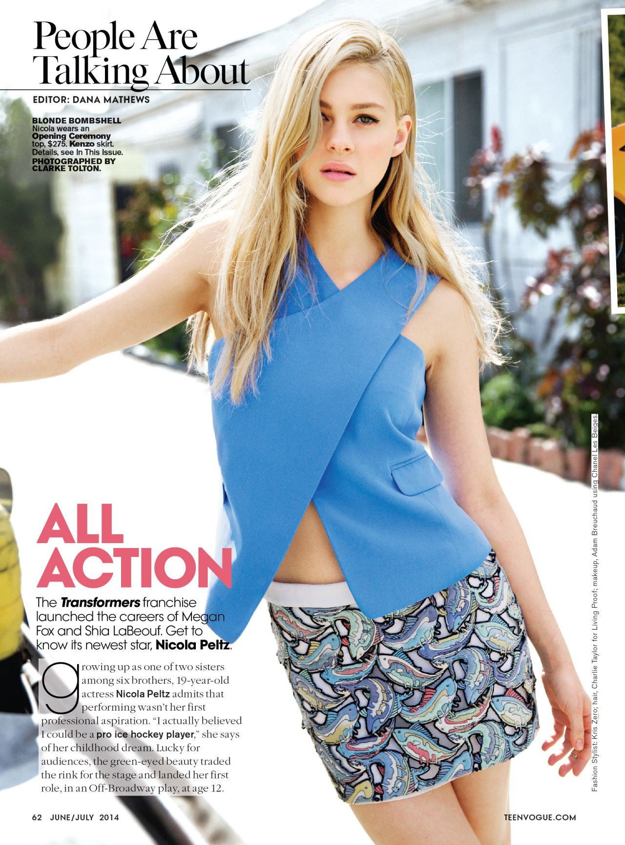 American actress Nicola Peltz Teen Vogue Magazine