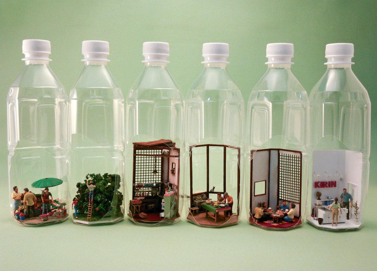 Kirin miniature kitchen in bottles advertisement