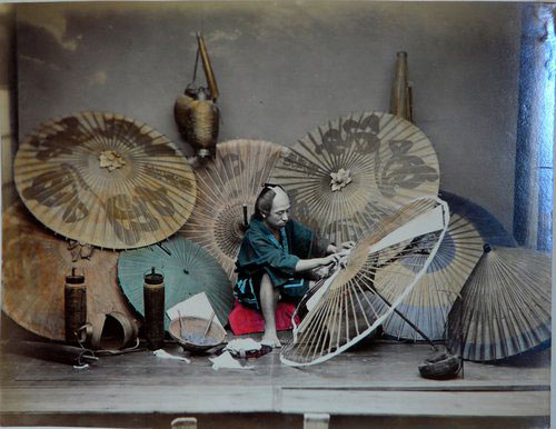 Adolfo Farsari vintage Japanese umbrella maker