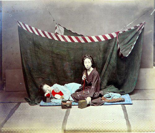 Adolfo Farsari vintage Japanese woman smoking