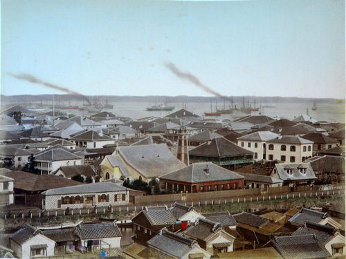 Adolfo Farsari vintage Japanese harbor view