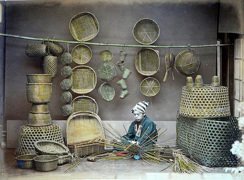 Adolfo Farsari vintage Japanese basket maker