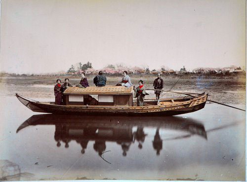 Adolfo Farsari vintage Japanese houseboat