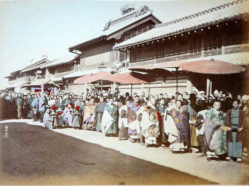 Adolfo Farsari vintage Japanese festival procession