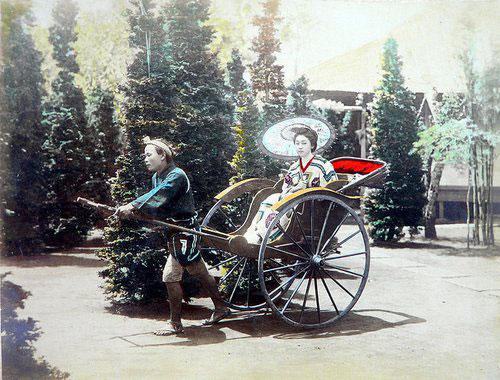 Adolfo Farsari vintage Japanese rickshaw