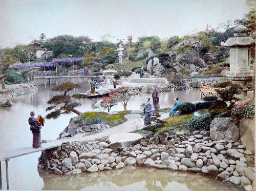 Adolfo Farsari vintage Japanese garden