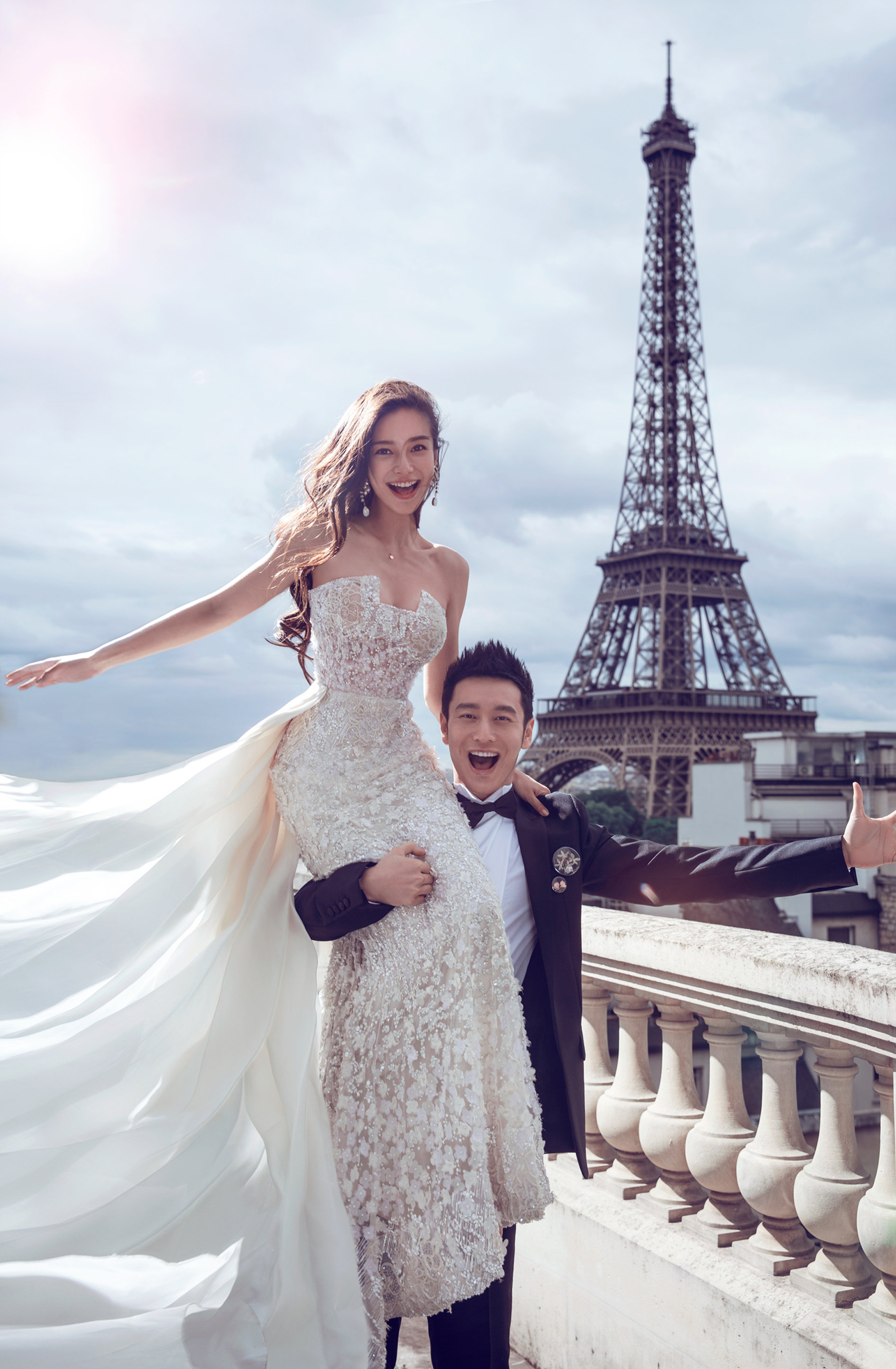 Huang Xiaoming and Angelababy wedding photo in Paris