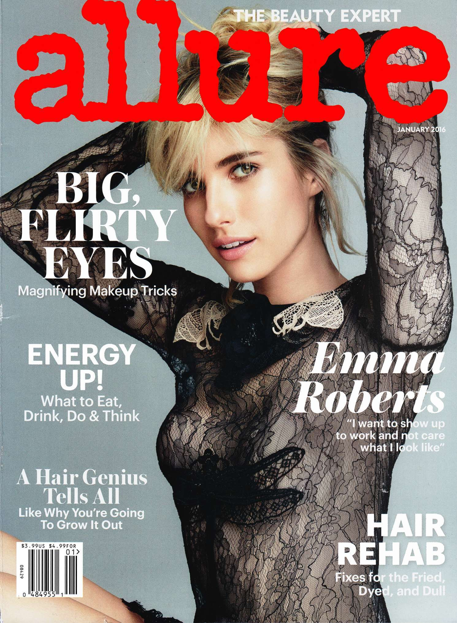 Emma Roberts in Allure Magazine with aerie lingerie
